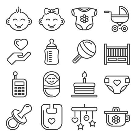 Baby and Childhood Icons Set on White Background. Line Style Vector Vektorové ilustrace