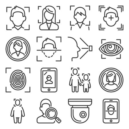 Face ID System Icons Set on White Background. Line Style Vector