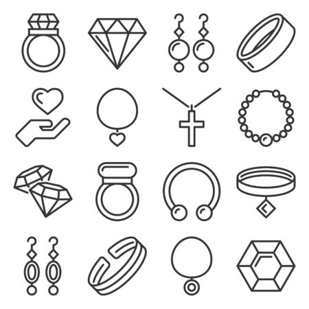 Jewelry Icons Set on White Background. Line Style Vector