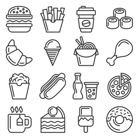Fastfood and Food Court Icons Set. Line Style Vector