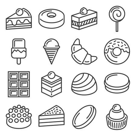 Confectionery and Sweet Pastry Icons Set. Line Style Vector illustration Illustration