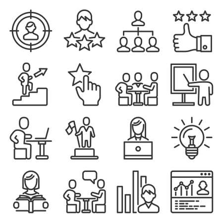 Business and Managing Skills Icons Set. Line Style Vector illustration
