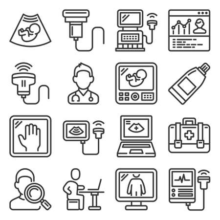 Ultrasound Diagnostic Icons Set on White Background. Line Style Vector