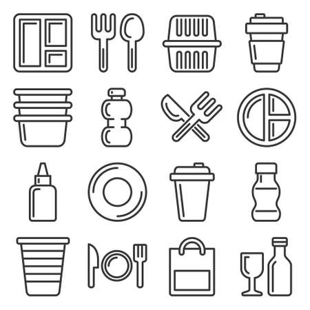 Plastic Tableware and Packaging Icons Set. Line Style Vector Vectores