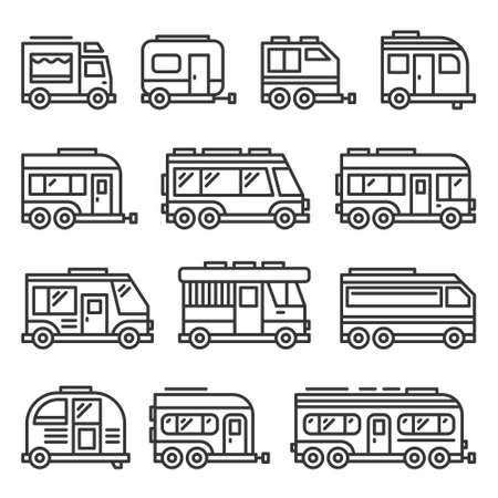 Recreational Vehicles RV Camper Vans Icons Set on White Background. Line Style Vector