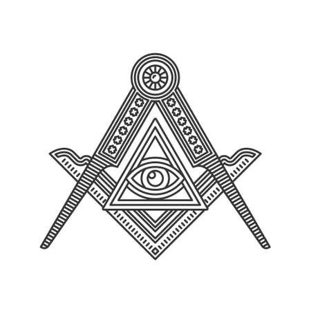 Masonic Freemasonry Emblem Icon Logo on White Background. Vector