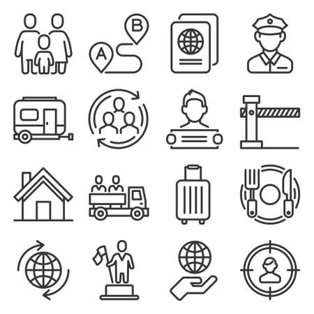 Immigration and Immigrants Icons Set on White Background. Line Style Vector