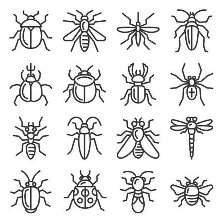 Bugs and Insects Icons Set on White Background. Vector