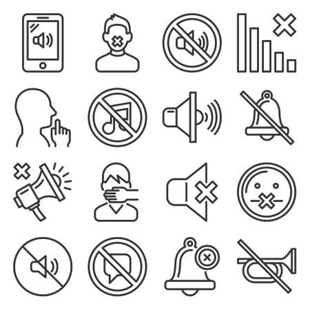 Keep Silence Icons Set on White Background. Line Style Vector