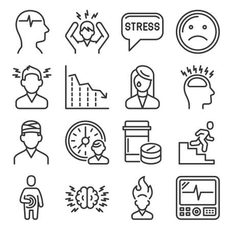 Stress and Depression Icons Set on White Background. Line Style Vector