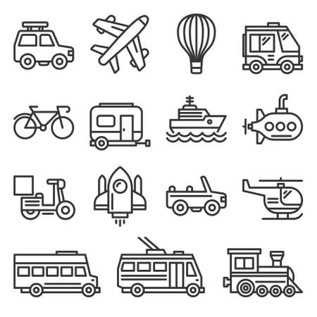 Public Transportation and Transport Icons Set on White Background. Line Style Vector