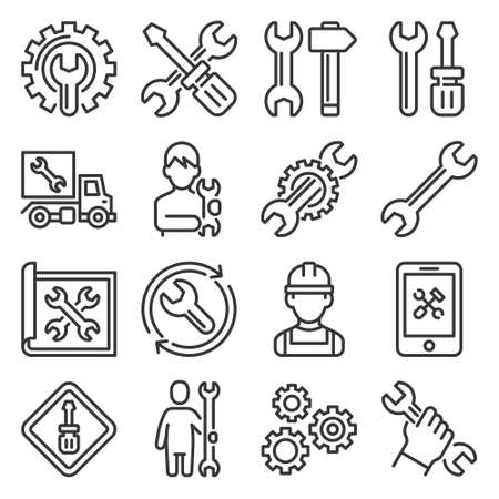 Repair and Settings Icons Set on White Background. Vector Stok Fotoğraf - 154725174