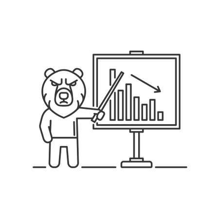 Bear is Standing on Market Graph Background. Vector