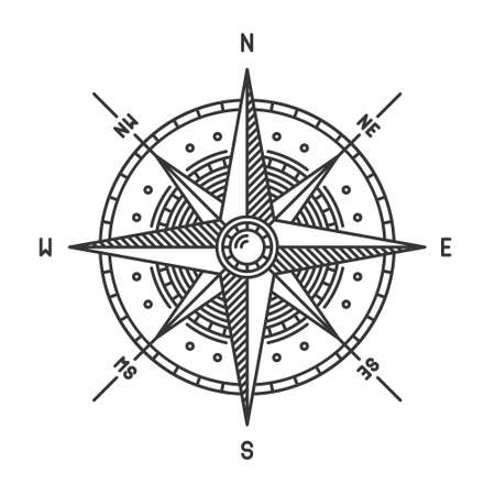 Compass Wind Rose Icon Sign on White Background. Vector Vector Illustratie