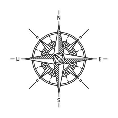 Compass Wind Rose Icon Sign on White Background. Vector