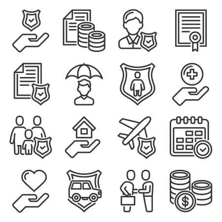 Accident Insurance Icons Set on White Background. Vector Vektoros illusztráció
