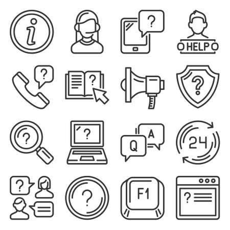Help and Online Support Center Icons Set. Vector