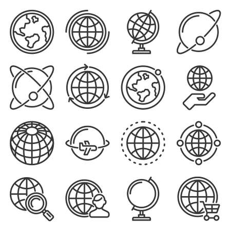 Earth Globe Icons Set on White Background. Vector 일러스트