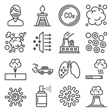 Air Pollution, Global Warming and Environment Icons Set. Vector 矢量图像