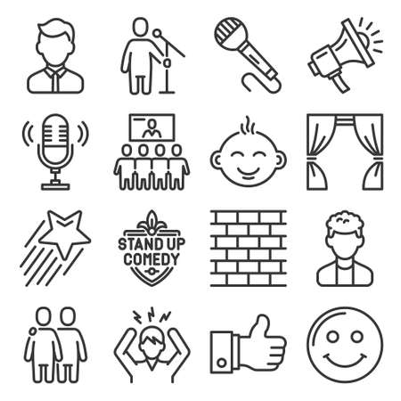 Stand up Comedy Club Icons Set. Vector