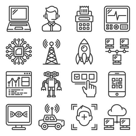 Technology Icons Set on White Background. Vector