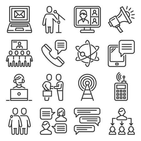 Communication Icons Set on White Background. Vector 矢量图像