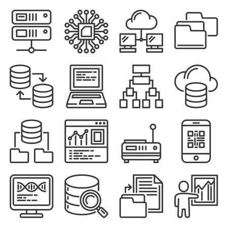 Big Data Analytics and Processing Icons Set. Vector 矢量图像