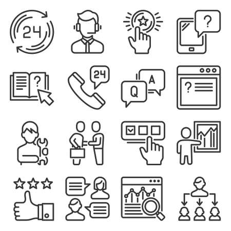 Support and Service Icons Set on White Background. Vector 矢量图像