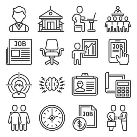 Job and Headhunting Icons Set on White Background. Vector