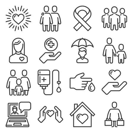 Charity and Volunteer Icons Set on White Background. Vector