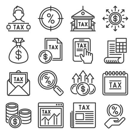Tax Icons Set on White Background. Vector