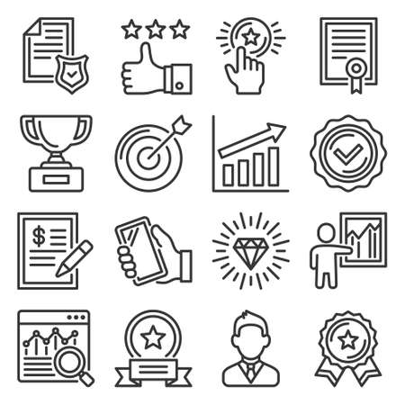 Quality Icons Set on White Background. Vector