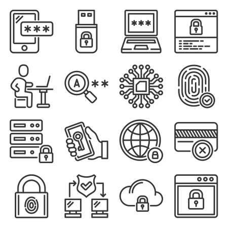 Firewall, Security and Protection Icons Set. Vector Ilustração