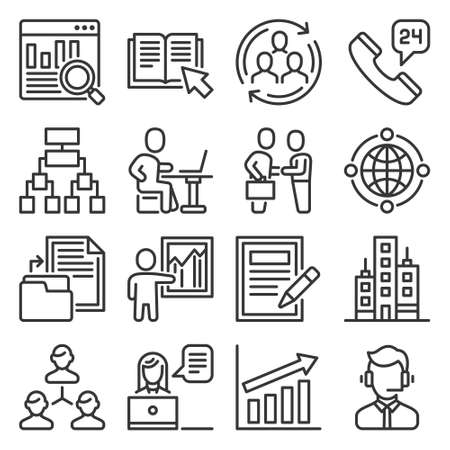 Business Agency Icons Set on White Background. Vector