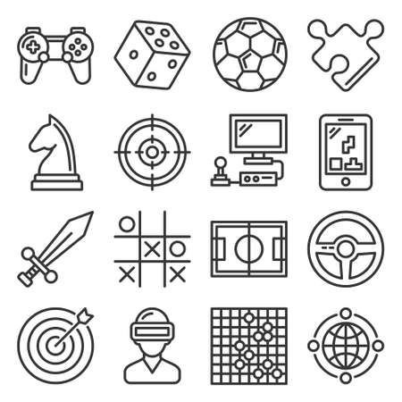 Game and Entertainment Icons Set on White Background. Vector