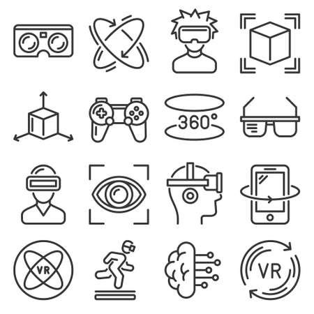Virtual Reality and VR Gaming Icons Set. Vector 矢量图像