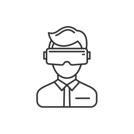 Virtual Reality Headset Icon on White Background. Vector