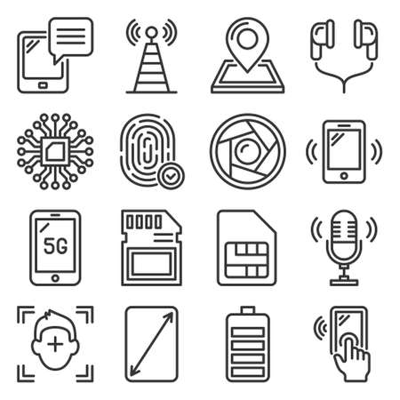 Mobile Phone Specification Icons Set on White Background. Vector