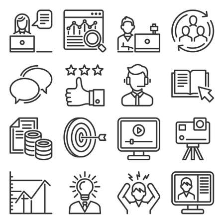 Blog and Video Blogger Icons Set. Vector