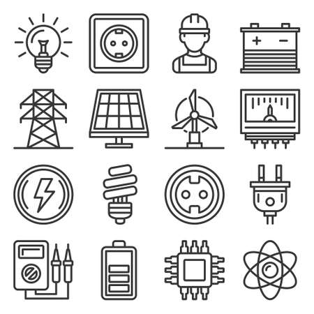 Electricity and Energy Icons Set on White Background. Vector