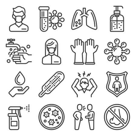 Coronavirus nCoV Medical and Hygiene Icons Set. Vector