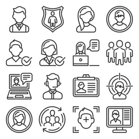 User Profile and Avatar Icons Set. Vector
