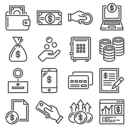 Money and Coin Icon Set on White Background. Vector 矢量图像