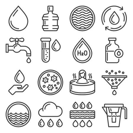 Water Icons Set on White Background. Vector 矢量图像