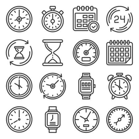 Time and Clock Icons Set on White Background. Vector