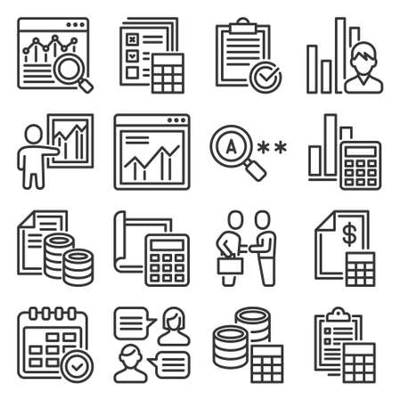 Financial Audit and Business Analytics Icons Set. Vector 矢量图像