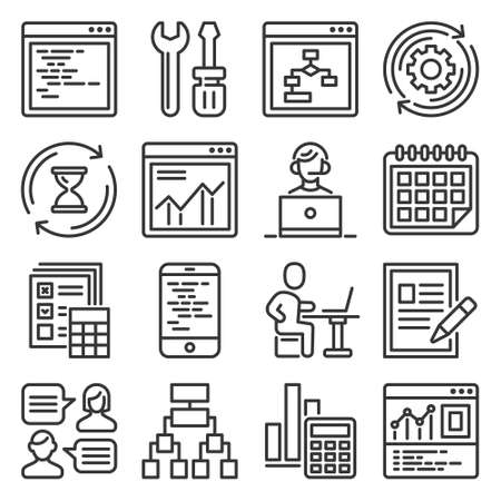 Web Development and Technology Research Icons Set. Vector