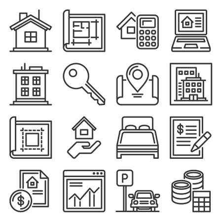 Real Estate and House Seaching Icons Set. Vector