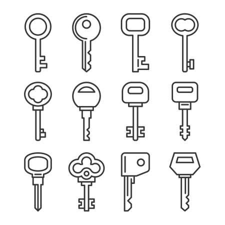 Retro and Modern Key Icons Set. Vector 矢量图像