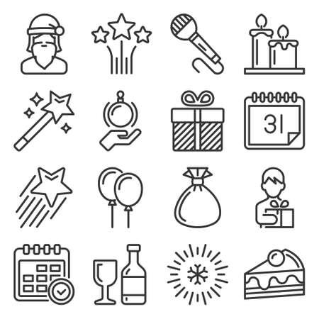 Celebration New Year Icons Set on White Background. Vector